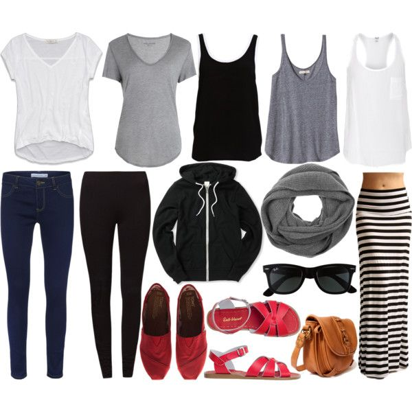 9 pieces + 2 pairs of shoes + 3 accessories. Minimalist packing, with multiple outfit options.