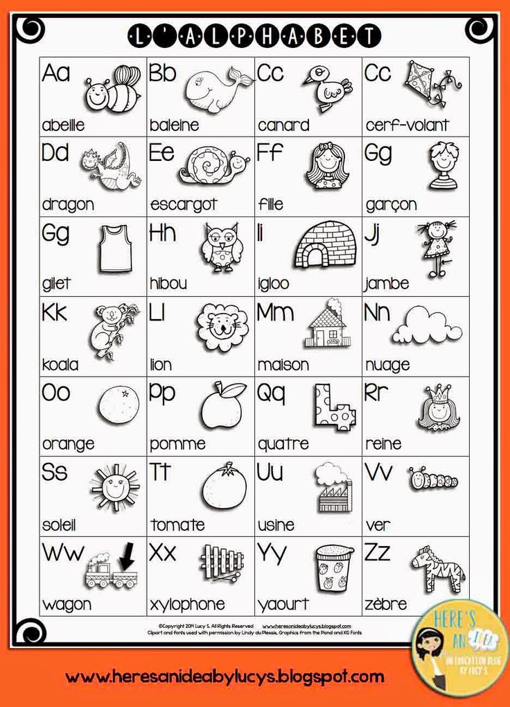 FREE BW French Alphabet Chart #francais