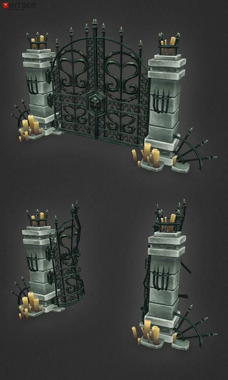 Low Poly Cemetery Gate  Now that Christmas and new years is done, it's time to keep things moving! This has been way overdue for a while now. The cemetery gate is done! There is an intact and a busted version. I am going through the cemetery assets to make them fit with the dungeon set in size so there will be updates soon and hopefully a new set in the not too distant future! :)