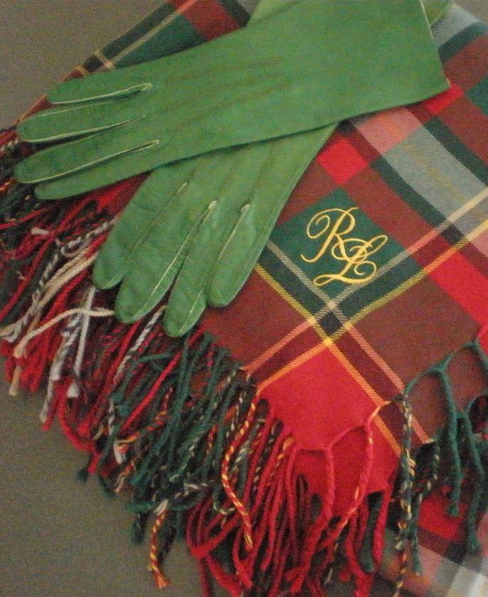 Ralph Lauren Plaid Shawl and vintage green gloves.