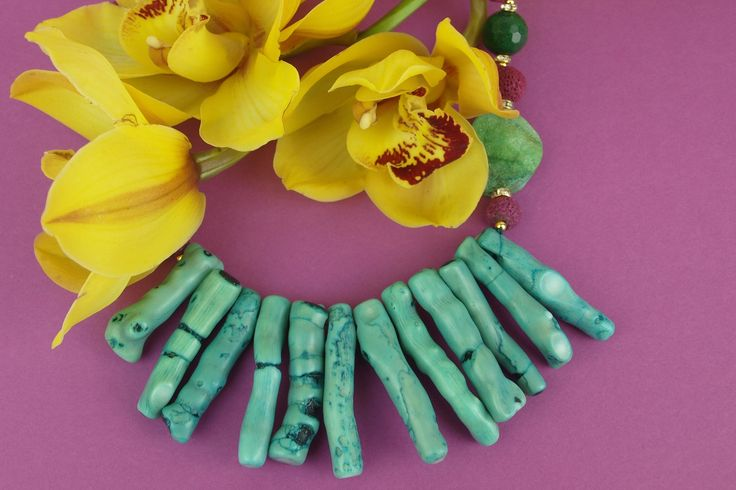 Blue coral and violet lava beads! Aloha :-)