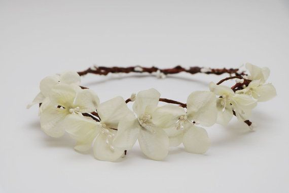 Flower Crown  White hydrangea petals  by AliceThorWeddings on Etsy