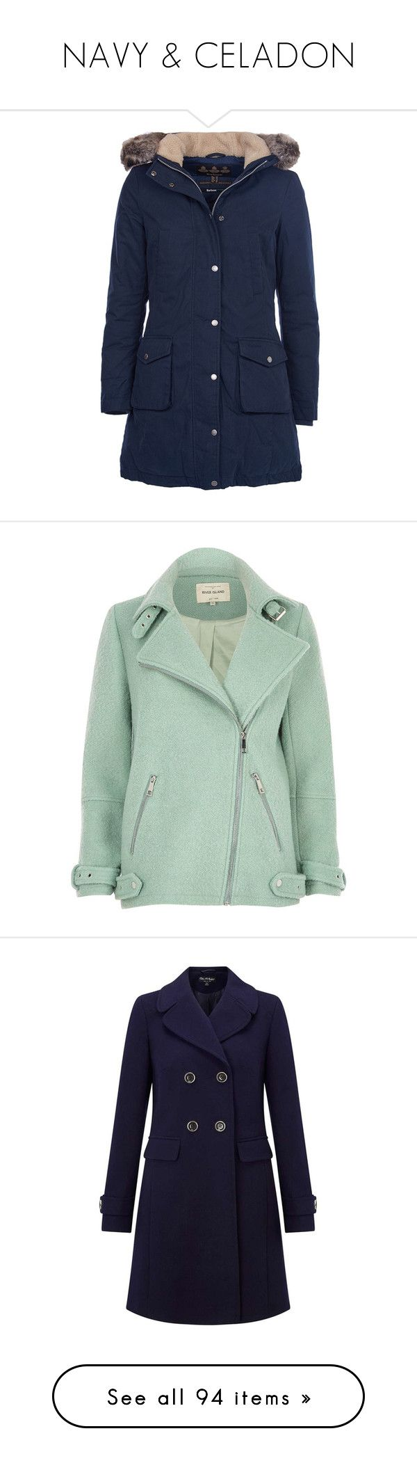 """""""NAVY & CELADON"""" by gustosa ❤ liked on Polyvore featuring outerwear, coats, navy blue coat, navy parka, barbour coats, dkny hooded faux-fur-trim parka coat, blue coat, coats & jackets, jackets and long oversized coat"""