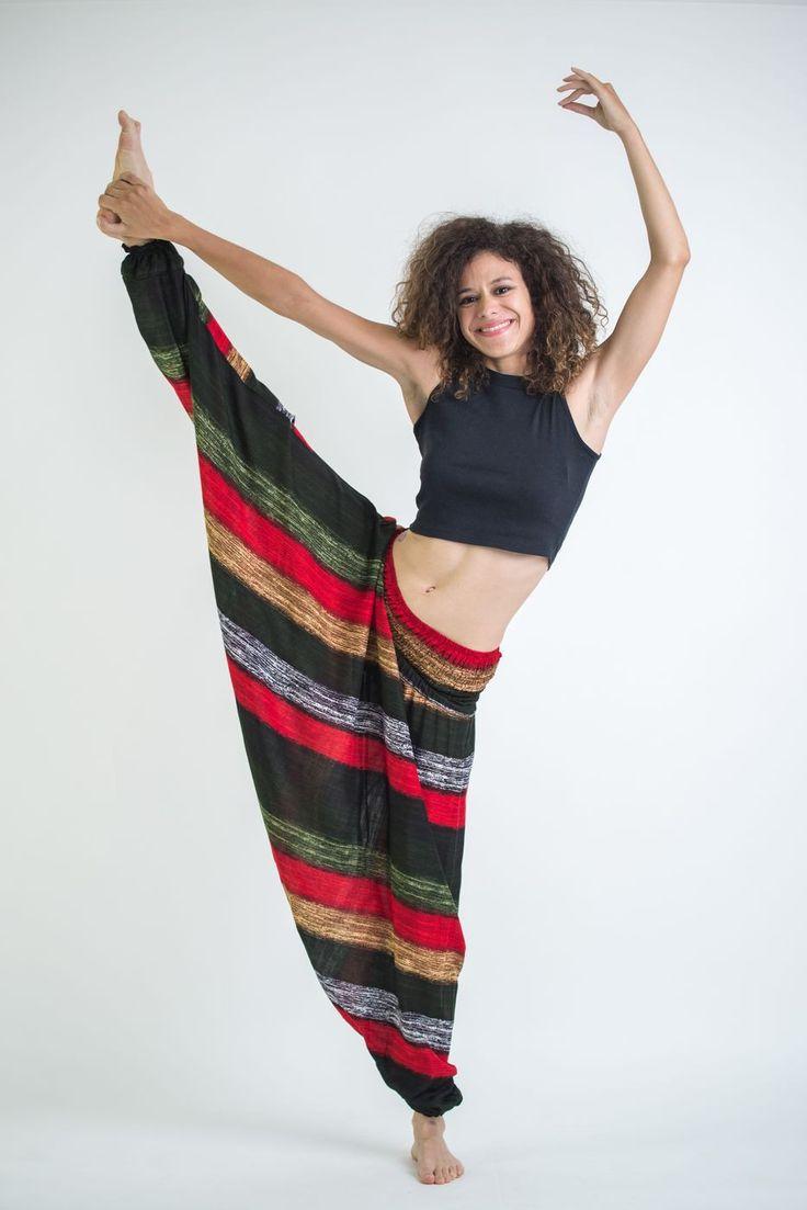 Boho Green Striped Low-Cut Women's Harem Pants