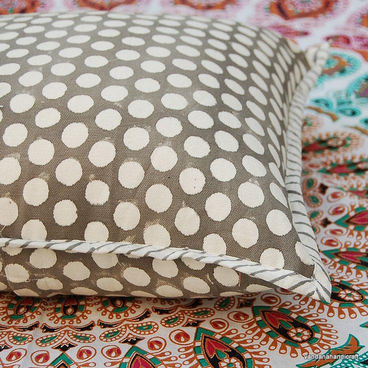 "Hand Block Printed Cotton Canvas Handmade Cushion Cover Polka Dot Print Designer Home Decor  Pillow Cover Case 16x16"" KH05 by ArtofPinkcity on Etsy"