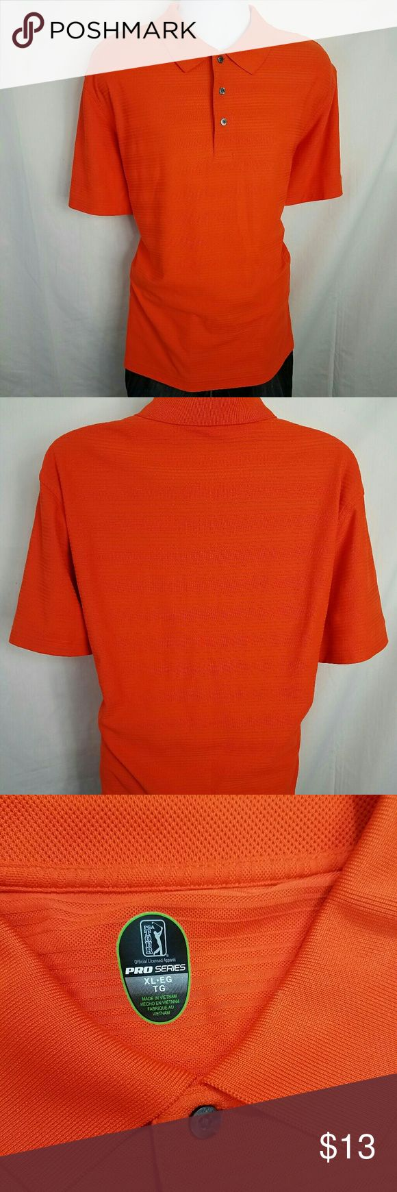 PGA Tour Pro Series Orange Golf Polo XL Great Condition! Chest Front - 24 Inches Shoulder to Hem - 27.5 Inches PGA TOUR Shirts Polos