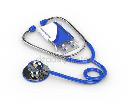 Renderowania 3D antybiotyk tabletki blister z stetoskop — Zdjęcie stockowe © ayo888 #134243716