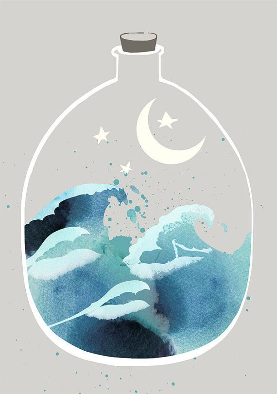 Japanese Waves Art Print Wall Art Art Prints Poster Watercolor