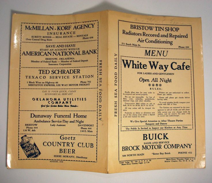 White Way Cafe Vtg Bristow Creek County Oklahoma Menu Restaurant 1930s 1939 | eBay