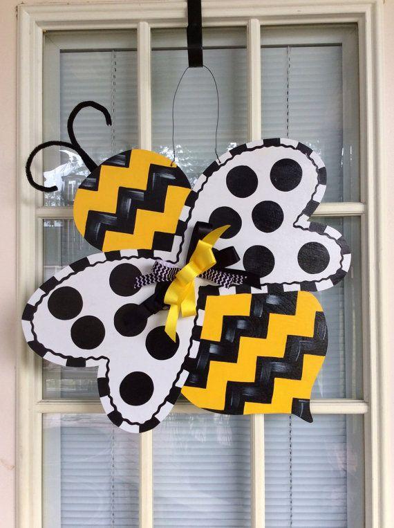 Resorte suspensión de puerta, colgador de puerta de madera, decoración de la puerta delantera, suspensión de puerta Bumble bee!