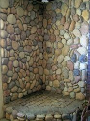 river rock wood stove hearths - Google Search