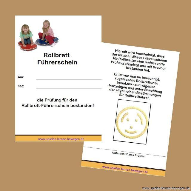 Rollbrett Fuhrerschein Rollbrett Lernen Turnen Mit Kindern