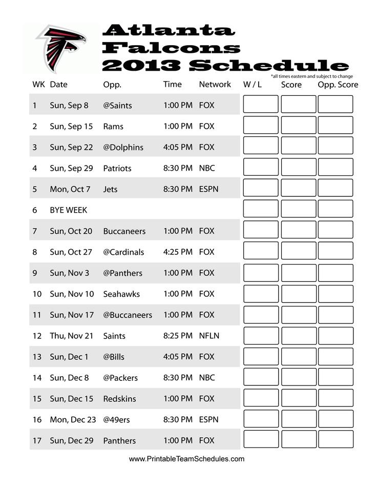 Atlanta Falcons 2013 Schedule