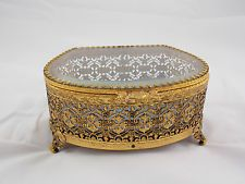 Gold Toned and Glass Jewelry Box - Vintage decorative home decor &…