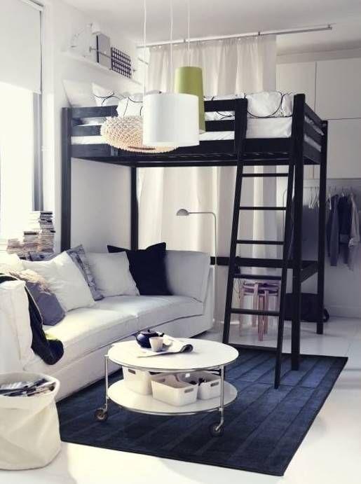 kleine Wohnung einrichten mit Hochhbett_1 zimmer wohnung - einrichtungsideen raeume wohnung interieur bilder