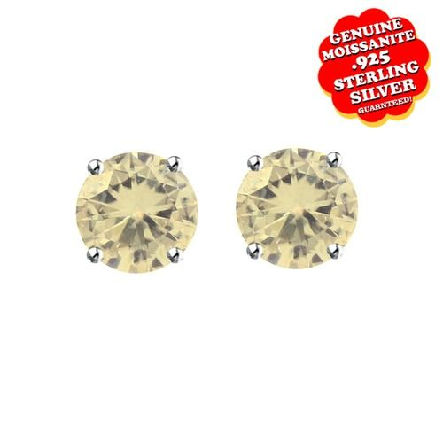 """3/4 Ct Round Brilliant Cut Yellow Moissanite 5 Mm Solitaire Stud Earrings With Push Back 14K Gold """"Mother\'s Day Gift"""". Starting at $99"""