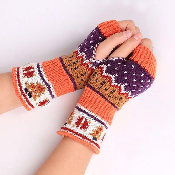 Women Christmas Winter Warm Knitting Fingerless Gloves For Christmas Gift at Banggood