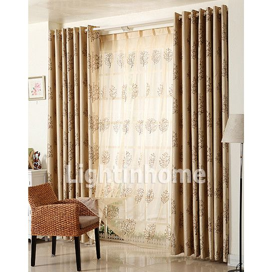 Unique Brown Calsual Long Printed Modern Basement Window Curtains