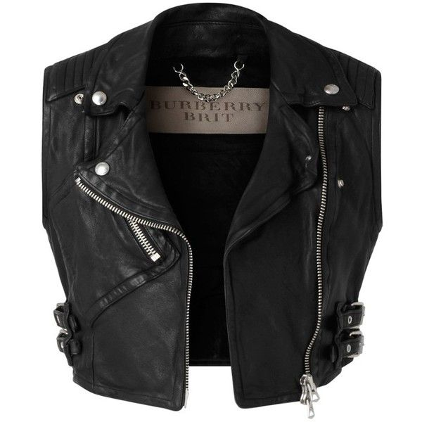 Burberry Cropped Leather Biker Waistcoat found on Polyvore featuring polyvore, fashion, clothing, outerwear, vests, jackets, tops, biker vest, cropped leather vest and burberry