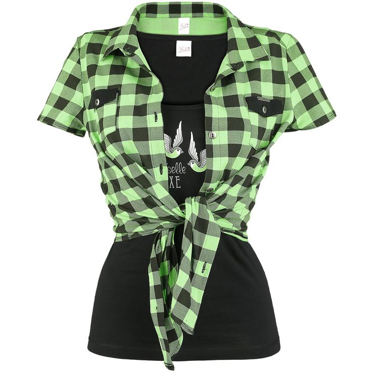 """Combination which really rocks: the two-part set of Pussy Deluxe consists of a green plaid shirt and a black top. The green short shirt can be laced. apposite to the shirt is the black top with two green swallows and the text: """"Mademoiselle Deluxe""""."""