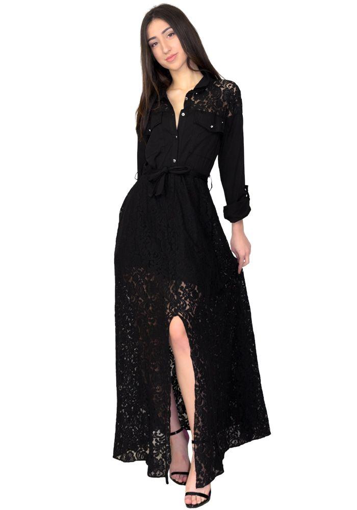 77da2bd9ca30 Φόρεμα maxi πουκάμισο με δαντέλα