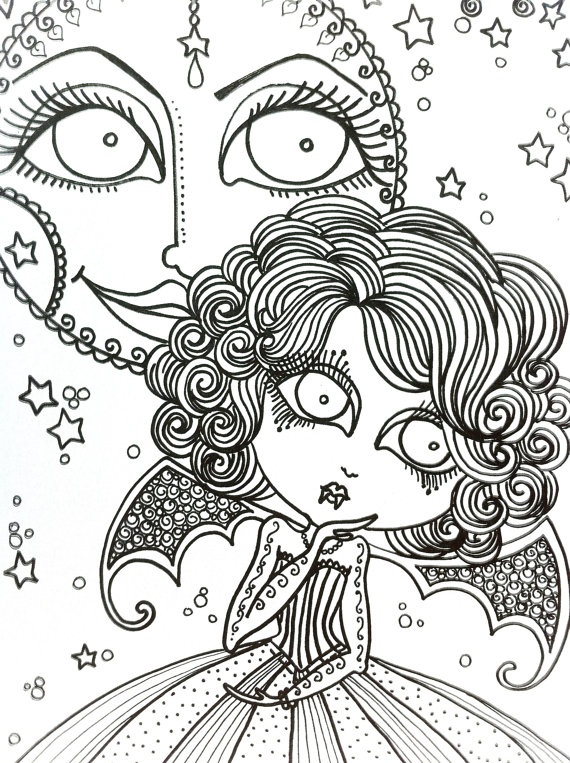 VAMPIRE  by Chubby Mermaid Abstract Doodle Zentangle ZenDoodle Paisley Coloring pages colouring adult detailed advanced printable Kleuren voor volwassenen coloriage pour adulte anti-stress kleurplaat voor volwassenen