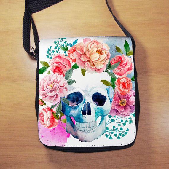 Watercolor Sugar Skull Shoulder Bag  Skull with by RegalosOnline