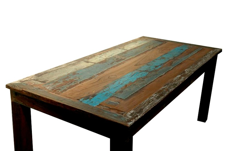 Reclaimed Boat Wood Dining Table Bali Sourced Rustic