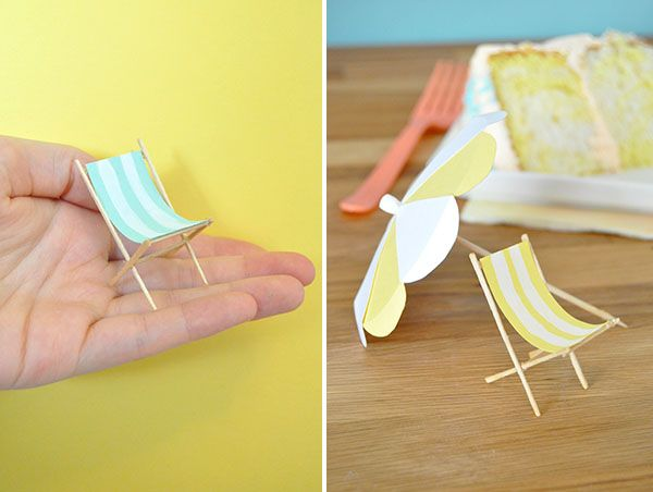 Grab this tutorial to make adorable, mini beach furniture for your Big Beach Bash this summer! | via Oh Happy Day