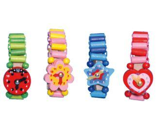 Houten speelgoed horloge
