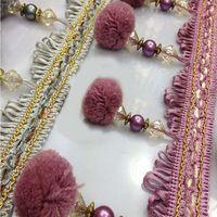 Záclonové krajky Briaded ozdob pro kutily Šití bambulí korálků Fringe Trim řasení dekorace 5-094