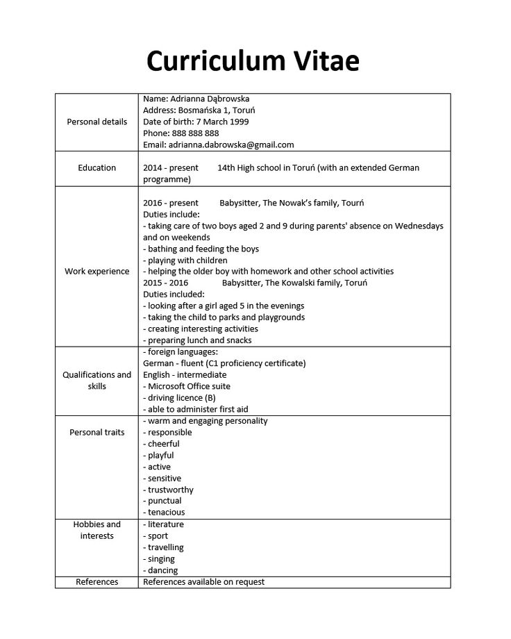 Curriculum Vitae W Języku Angielskim Modelos de