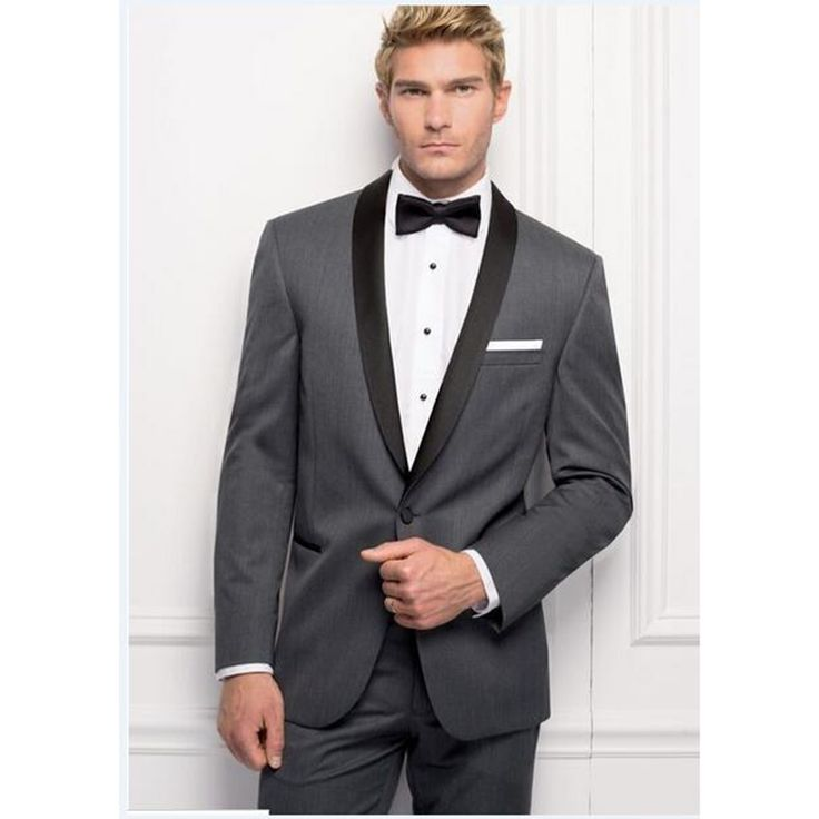 Custom made grey One Button Groom Tuxedos terno masculino slim fit Mens Suits Groomsman (Jacket+Pants) Wedding Tuxedos men Suit