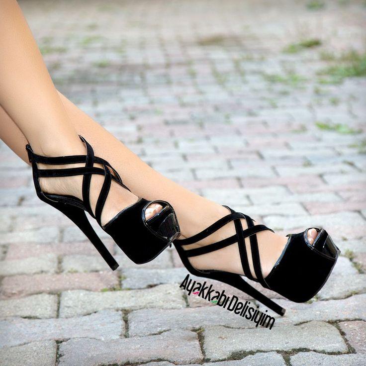 Eldora Süet Siyah Platform Topuklu Ayakkabı