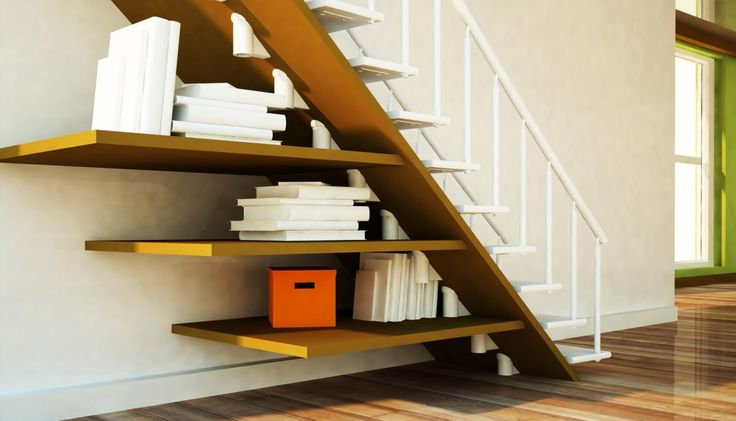 Good Looking White One Side Handrail Straight Staircase Design Be Equipped Three Brown Wood Floating Bookshelves, Inspiring Modern And Space Saving Under Stair Storage Shelves: furniture, Interior