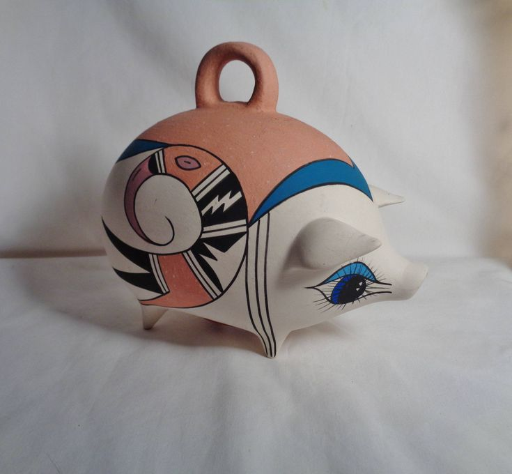 New addition to my #etsy shop: Vintage Hand Made Mexico Terra Cotta Pig Piggy Bank with Stopper, Gilt or Sow, Hand Painted, Signed, Folk Art, Farmhouse, Rustic, Primitive http://etsy.me/2CAOtzY #vintage #vintageMexico #Mexicanpottery #terracotta #piggybank