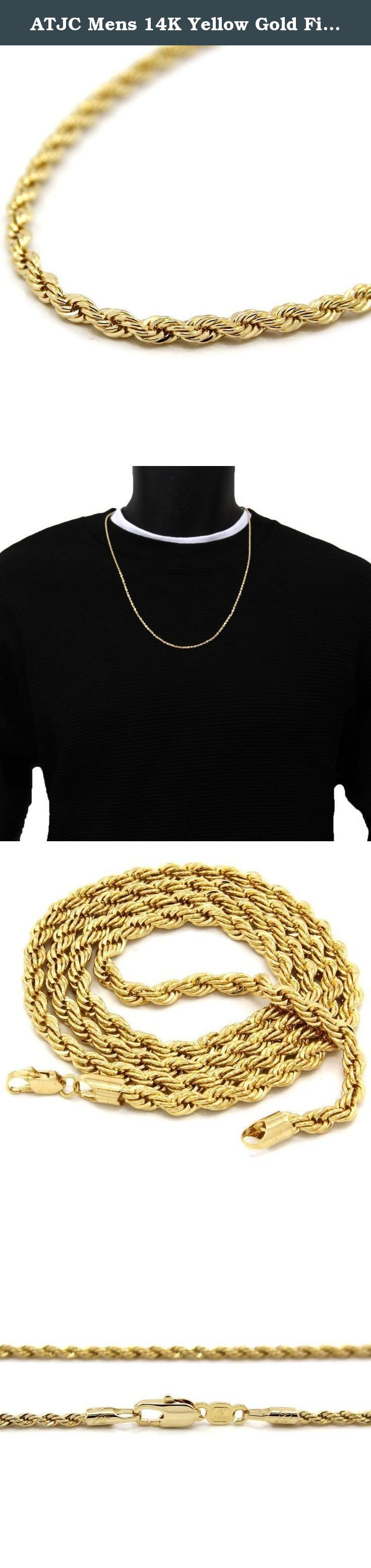 """ATJC Mens 14K Yellow Gold Filled 5mm Rope Chain Necklace 20"""" Inches. Product Features: Color: as shown in the picture, maybe the color of real goods is a little different from the pictures in different computers, please understand. Please keep in mind that this item is not real gold, but looks and shines like a real piece. All our ATJC products come with ATJC gift Card. Trendy Fashionable, it is a great gift for your boyfriend. Package Included ATJC Mens 24K Yellow Gold Filled Rope Chain..."""