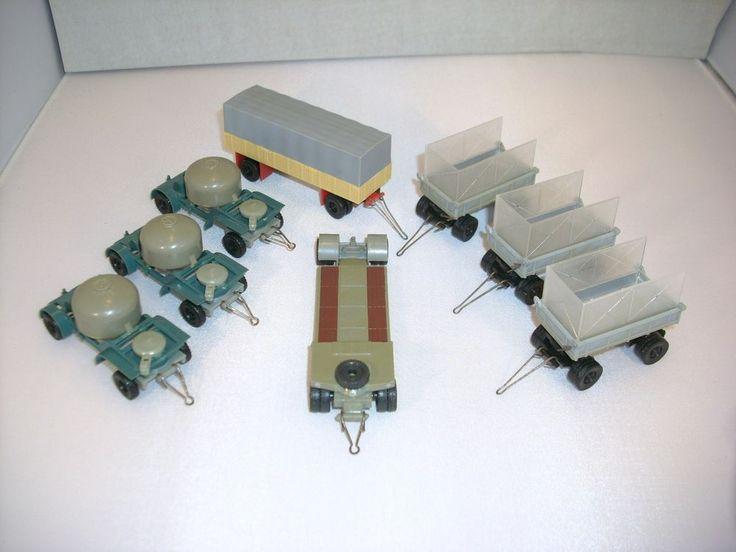 8 St DDR Modellauto LKW Anhänger Tieflader Zementsilo für H0 Bahn