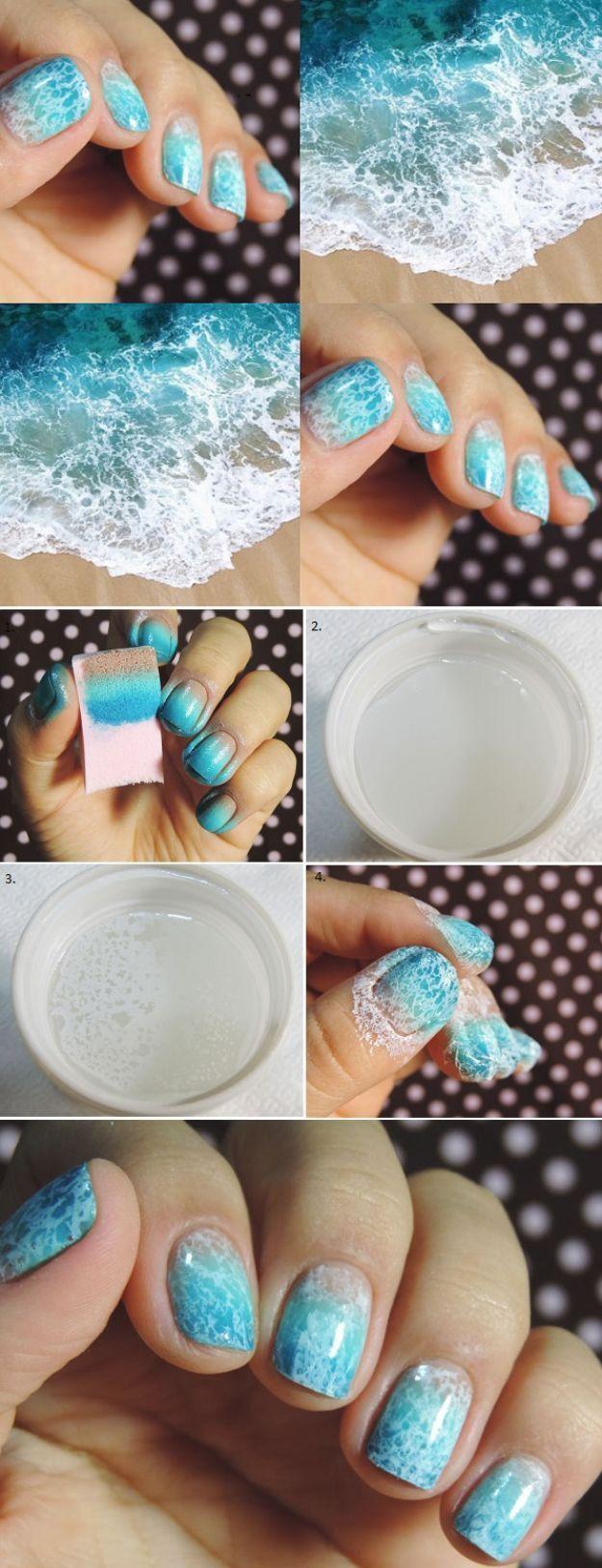 33 Cool Nail Art Ideas - Blue and White Ocean Saran Wrap Manicure Nail Design Tutorial
