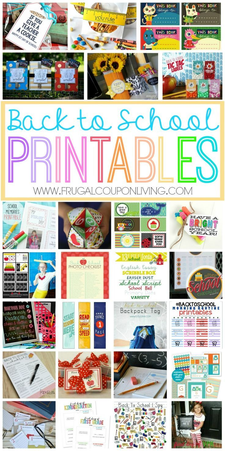 FREE Back to School Printables - FREE printables for the School Year on Frugal Coupon Living.