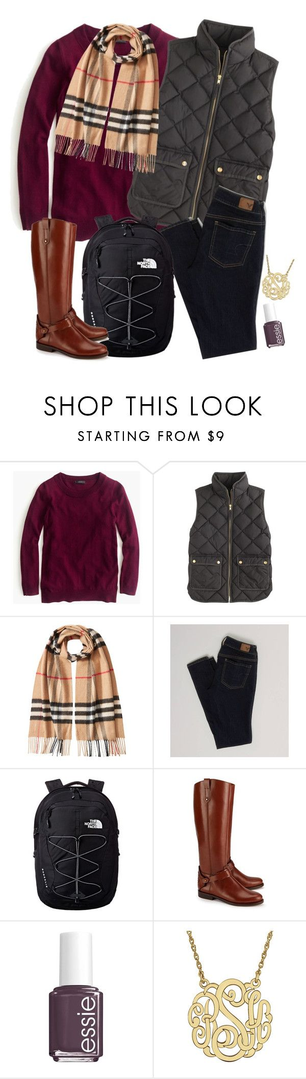 """OOTD from 11.16.15"" by adorably-clueless ❤ liked on Polyvore featuring J.Crew, Burberry, American Eagle Outfitters, The North Face, Tory Burch and Essie"