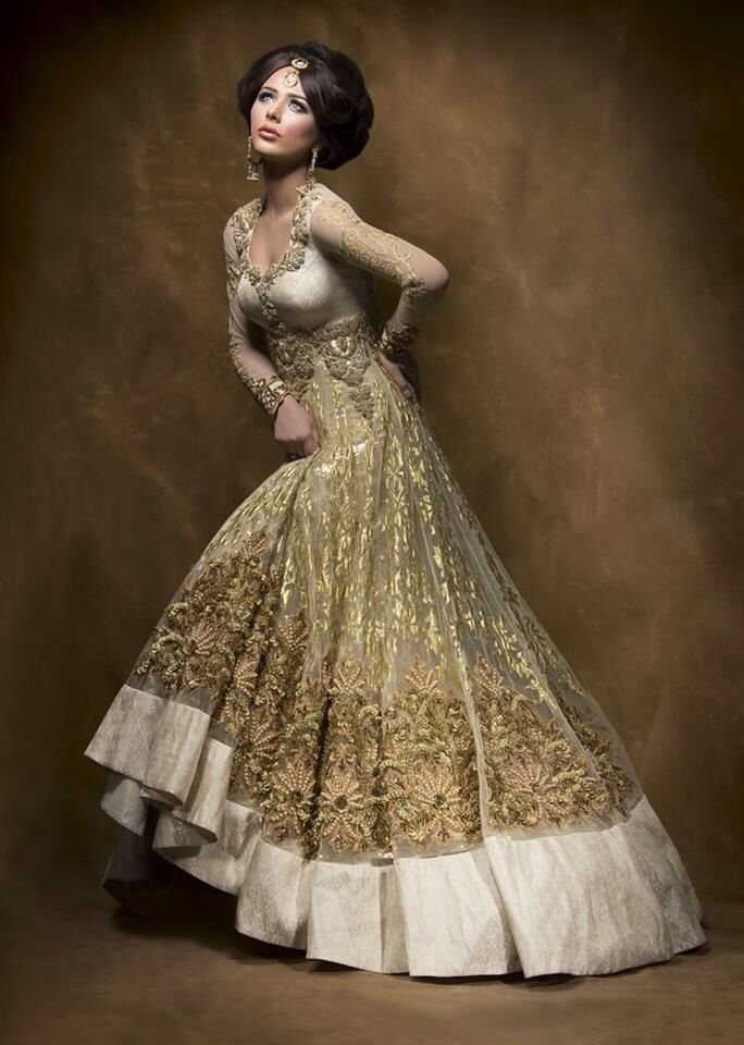 Gold anarkali gown