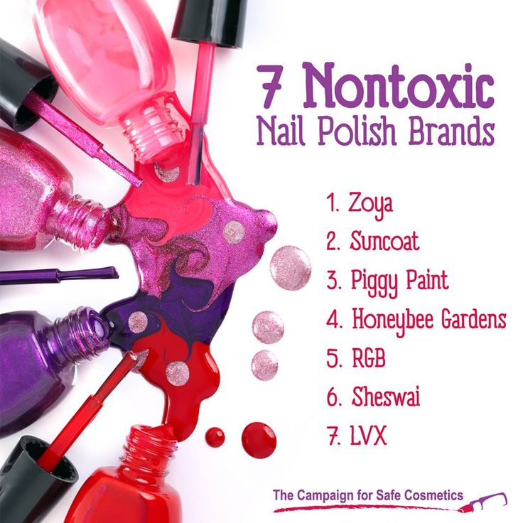 7 Less toxic nail polish brands. Apparently Zoya is good as long as you use their top coat.