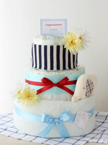 【おむつケーキ】ボーダーグッズケーキ/3段・ブルー 日本製グッズ3点付 おむつケーキの店アンドラブリー*& Lovely