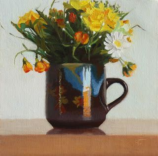 """Spring Flowers in Autumn Cup by Charmaine P Jackson Oil on 6""""x6"""" linen"""