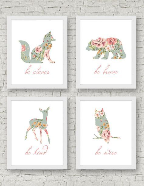 Be Brave, Be Kind, Be Clever, Be Wise Art Print – Set of 4 Prints – Woodland Nursery, Shabby Chic, Floral Animal, Wall Art, Baby Girl Room   – Casual