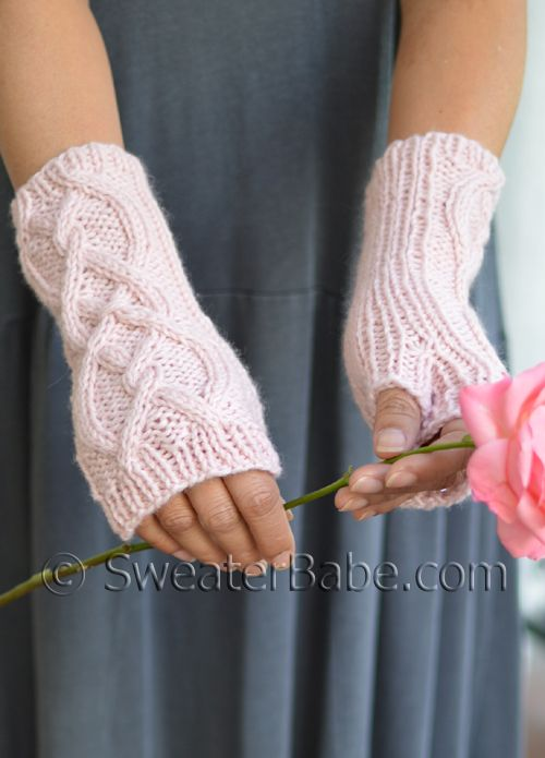 Cashmere, cabled fingerless gloves to knit. So lovely! Co-ordinating hat knitting pattern available too!