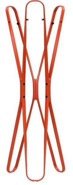 A graphic take on the traditional coat stand, Saturn hails from innovative design team Barber Osgerby. Crafted from six identical interlocking arcs, the stand is 65 inches high, 23 inches wide, and made of solid beech. Colors include vermillion, jet black, pure white, and umbra gray. M2L; 800-319-8222; m2lcollection.com.