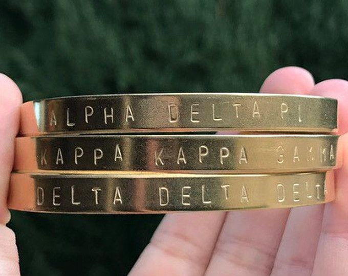 Go Greek! Sorority Handstamped Bracelets at lindseyvee. Perfect gifts for RUSH, INITIATION & BIG/LITTLE REVEAL!  Browse unique items from lindseyvee on Etsy, a global marketplace of handmade, vintage and creative goods. #sorority #sororitylife #sororitygirls #college #jewelry