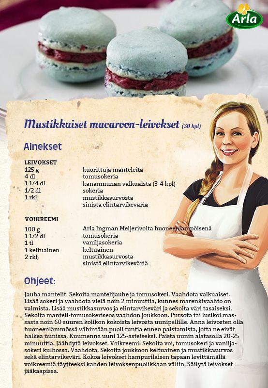 Iki-ihanat macaroon -leivokset (macaroons, macaron, makronit... rakkaalla lapsella on monta nimeä) saavat tässä reseptissä mustikkaisen värin ja maun.